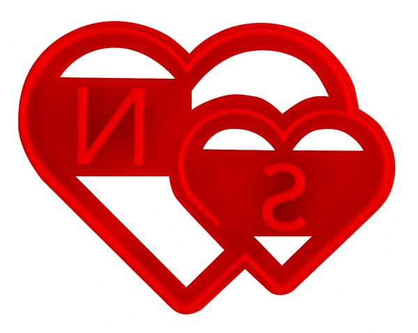 """Ausstechform """"Doppeltes Herz"""" mit individuellen Initialen"""
