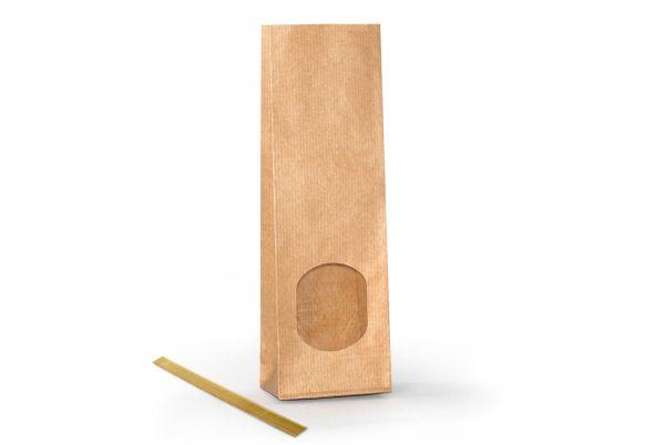 Blockbodenbeutel Natron mit Fenster inkl. Clip, 10er Pack